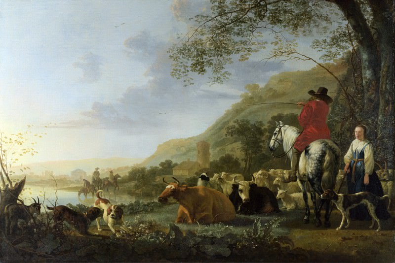Aelbert Cuyp - A Hilly Landscape with Figures. Part 1 National Gallery UK