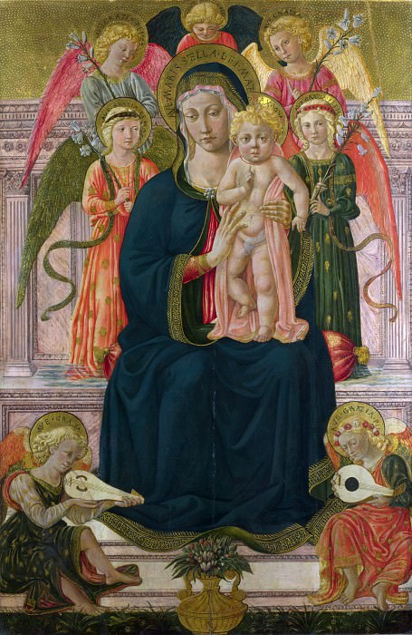 After Benozzo Gozzoli - The Virgin and Child Enthroned with Angels. Part 1 National Gallery UK
