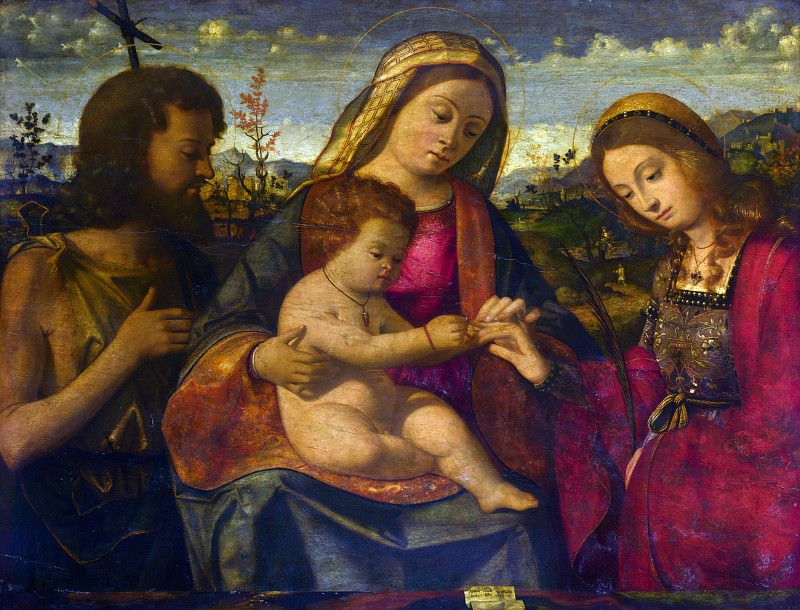 Andrea Previtali - The Virgin and Child with Saints. Part 1 National Gallery UK
