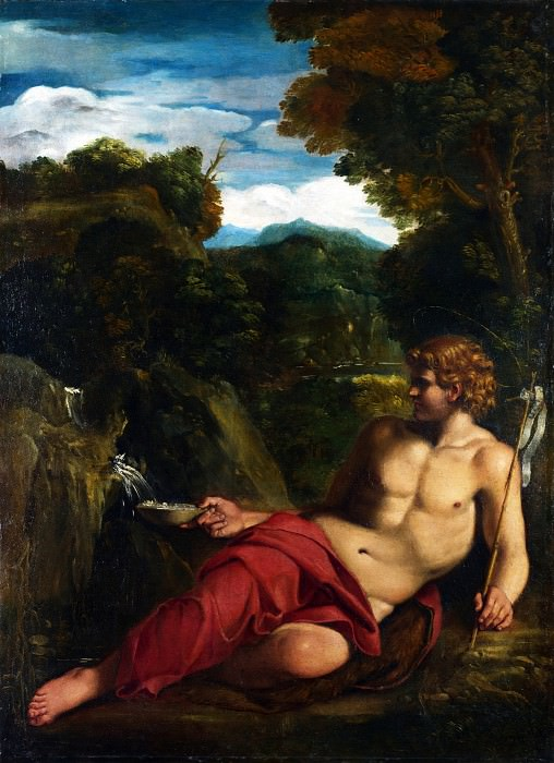 Circle of Annibale Carracci - Saint John the Baptist seated in the Wilderness. Part 1 National Gallery UK