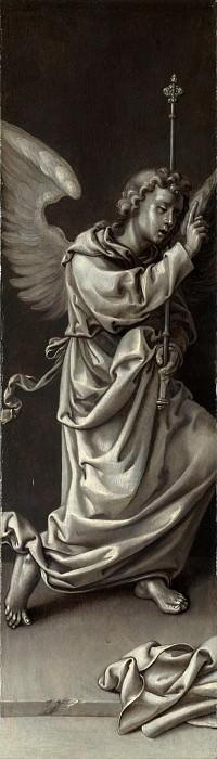 Circle of Pieter Coecke van Aalst - The Archangel Gabriel - Reverse of Left Hand Shutter. Part 1 National Gallery UK