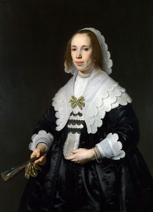 Bartholomeus van der Helst - Portrait of a Lady in Black Satin with a Fan. Part 1 National Gallery UK