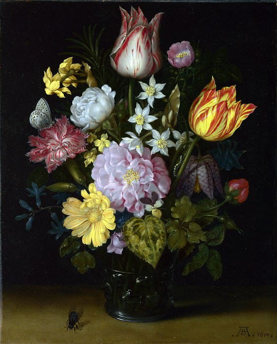 Ambrosius Bosschaert the Elder - Flowers in a Glass Vase. Part 1 National Gallery UK