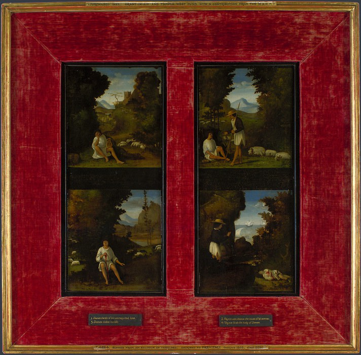 Andrea Previtali - Scenes from Tebaldeos Eclogues. Part 1 National Gallery UK