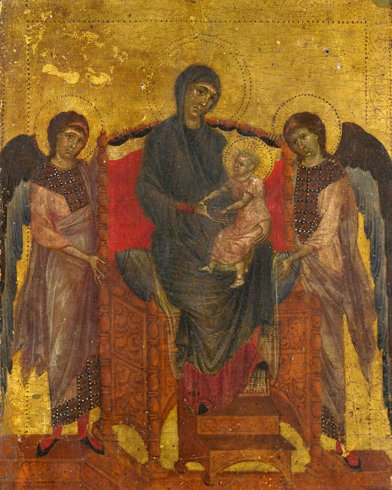 Cimabue - The Virgin and Child Enthroned with Two Angels. Part 1 National Gallery UK