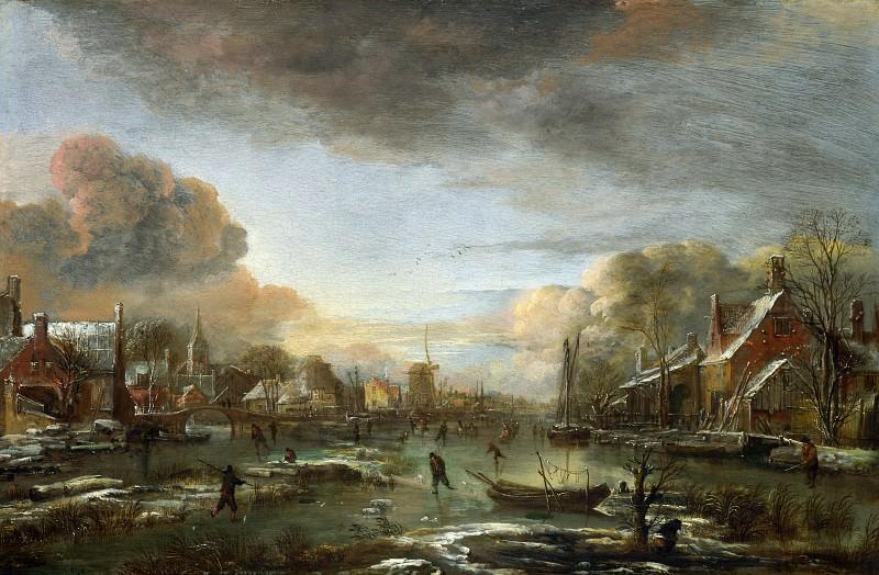 Aert van der Neer - A Frozen River by a Town at Evening. Part 1 National Gallery UK