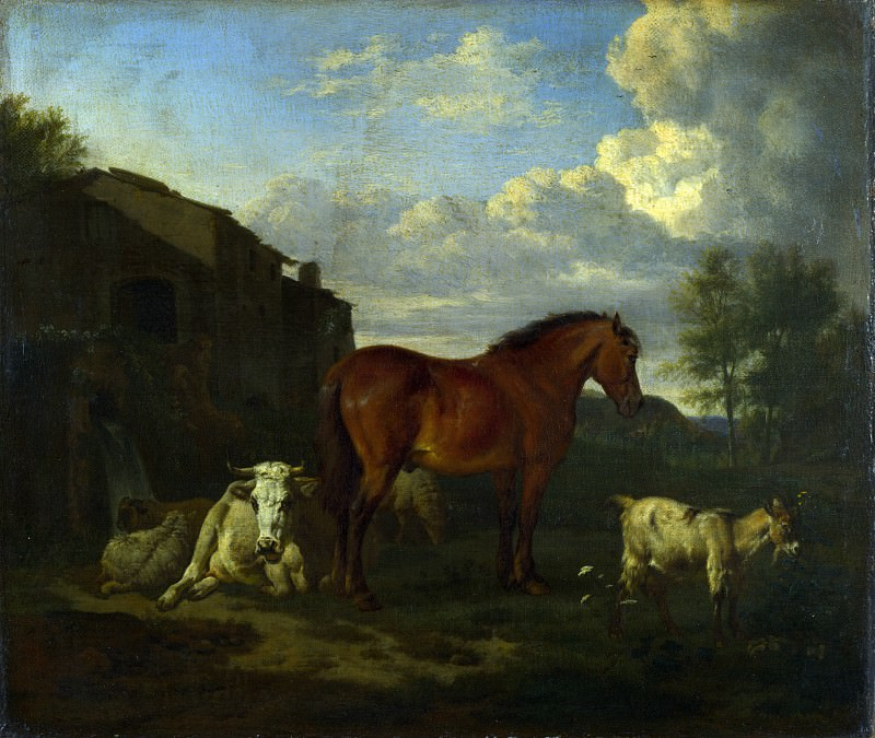Адриан ван де Вельде - Животные у хлева. Часть 1 Национальная галерея