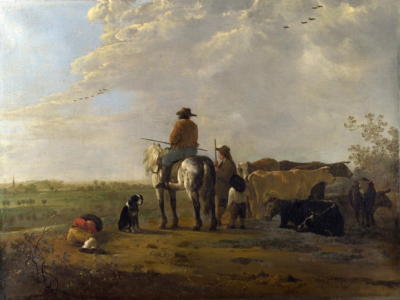 Aelbert Cuyp - A Landscape with Horseman, Herders and Cattle. Part 1 National Gallery UK