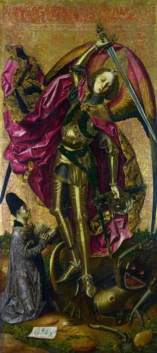 Bartolome Bermejo - Saint Michael Triumphs over the Devil. Part 1 National Gallery UK