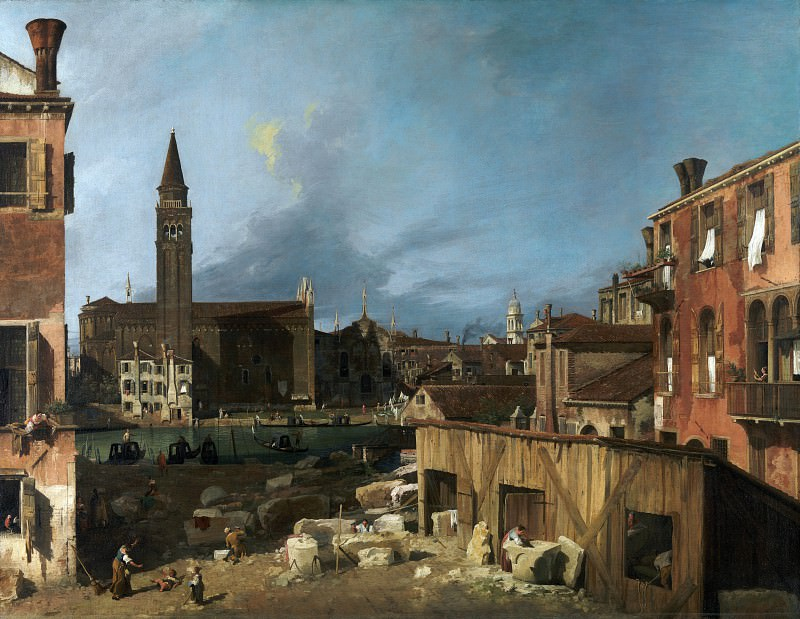 Canaletto - The Stonemasons Yard. Part 1 National Gallery UK