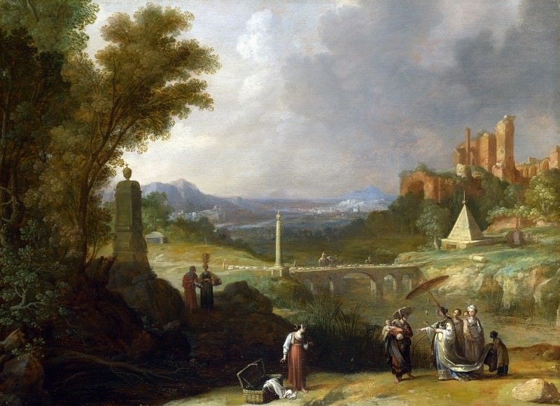 Bartholomeus Breenbergh - The Finding of the Infant Moses by Pharaohs Daughter. Part 1 National Gallery UK