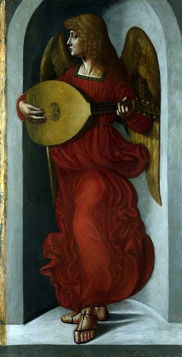 Associate of Leonardo da Vinci - An Angel in Red with a Lute. Part 1 National Gallery UK
