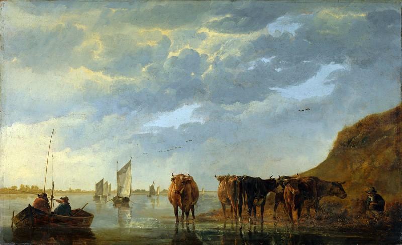 Альберт Кейп - Пастух с пятью коровами на берегу реки. Часть 1 Национальная галерея
