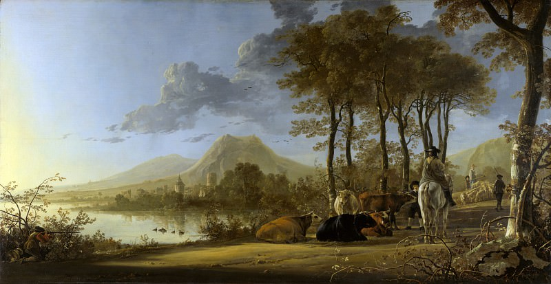 Aelbert Cuyp - River Landscape with Horseman and Peasants. Part 1 National Gallery UK