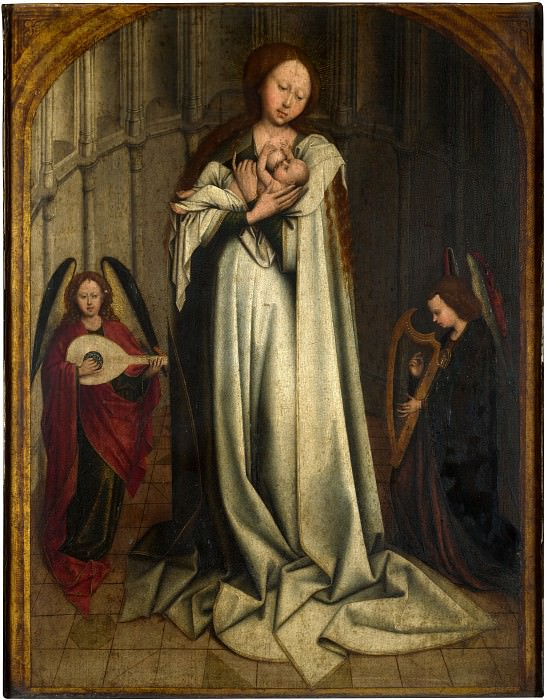 After Robert Campin - The Virgin and Child in an Apse with Two Angels. Part 1 National Gallery UK