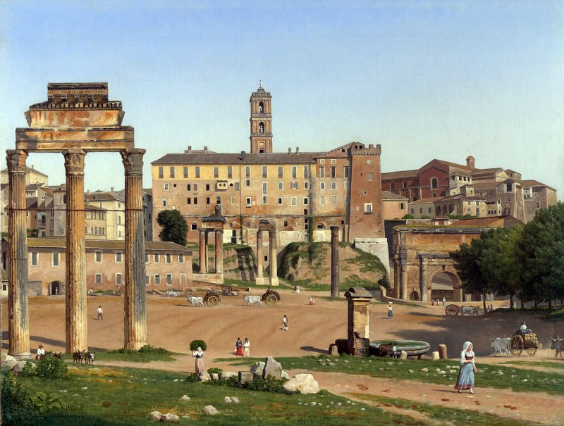 Christoffer Wilhelm Eckersberg - View of the Forum in Rome. Part 1 National Gallery UK