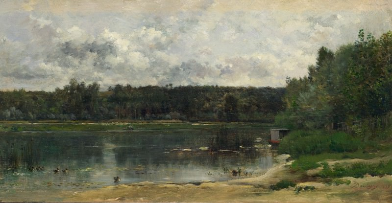 Charles-Francois Daubigny - River Scene with Ducks. Part 1 National Gallery UK