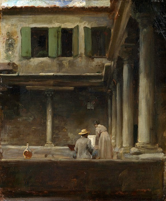An Artist Sketching in the Cloister of S. Gregorio, Venice - Lord Leighton Frederic. Part 1 National Gallery UK