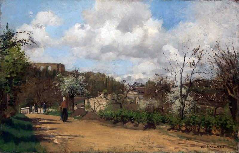Camille Pissarro - View from Louveciennes. Part 1 National Gallery UK