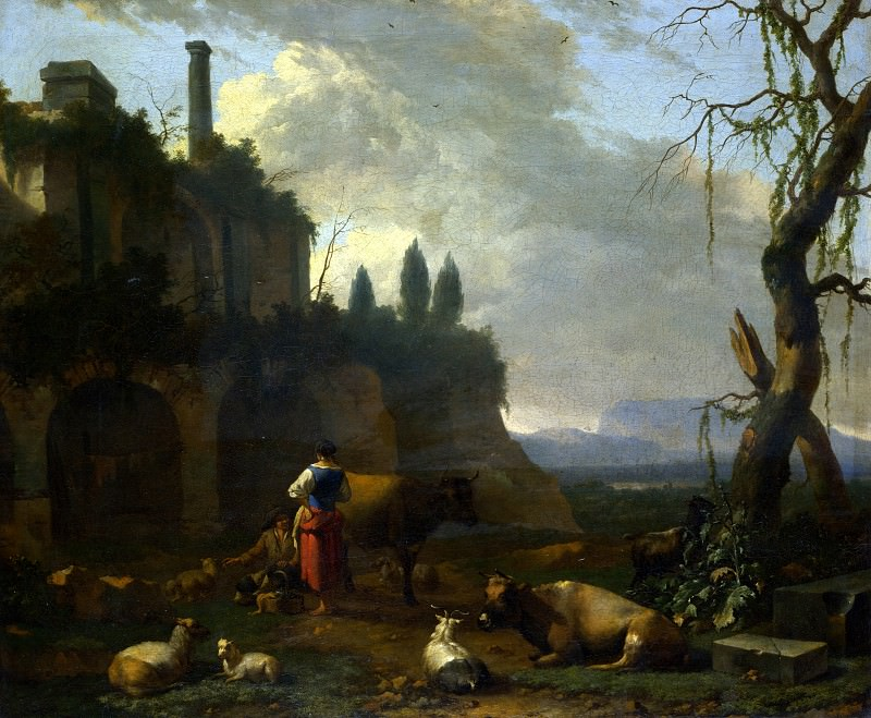 Abraham Begeijn - Peasants with Cattle by a Ruin. Part 1 National Gallery UK