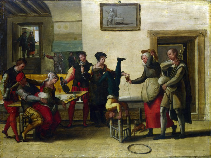 After The Brunswick Monogrammist - Itinerant Entertainers in a Brothel. Part 1 National Gallery UK