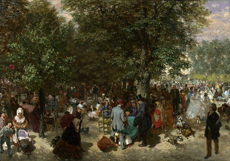 Adolph Menzel - Afternoon in the Tuileries Gardens. Part 1 National Gallery UK