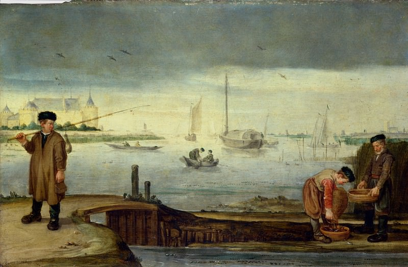 Arent Arentsz. - Fishermen near Muiden Castle. Part 1 National Gallery UK