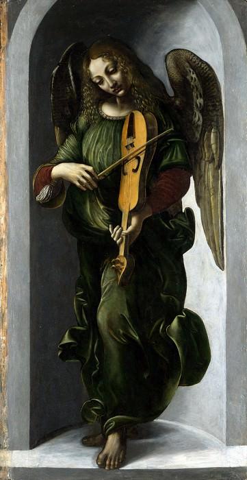 Associate of Leonardo da Vinci - An Angel in Green with a Vielle. Part 1 National Gallery UK