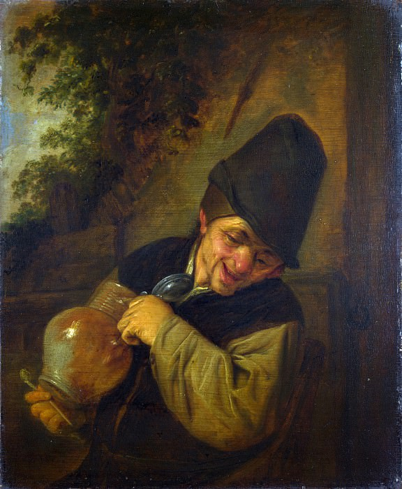 Adriaen van Ostade - A Peasant holding a Jug and a Pipe. Part 1 National Gallery UK