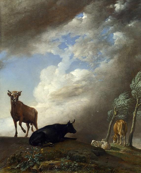 Пауль Поттер - Бык, коровы и овцы в бурном пейзаже. Часть 5 Национальная галерея