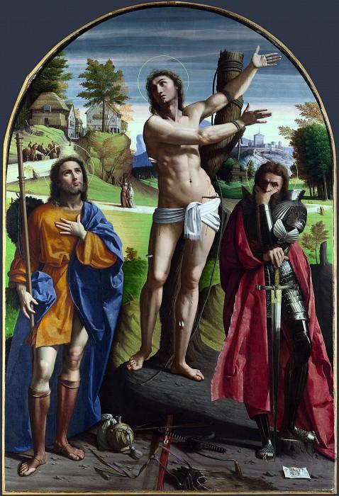 Ortolano - Saints Sebastian, Roch and Demetrius. Part 5 National Gallery UK