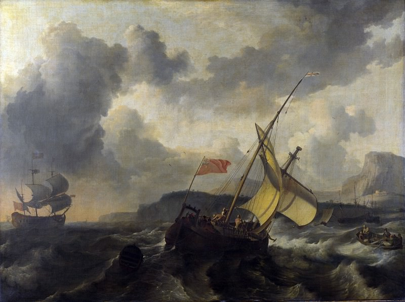 Ludolf Bakhuizen - An English Vessel and a Man-of-war in a Rough Sea. Part 5 National Gallery UK