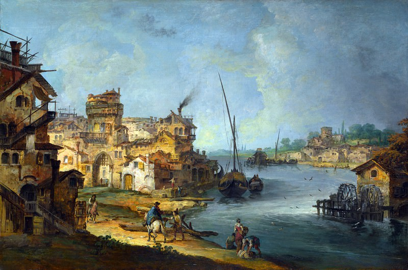 Michele Marieschi - Buildings and Figures near a River with Shipping. Part 5 National Gallery UK