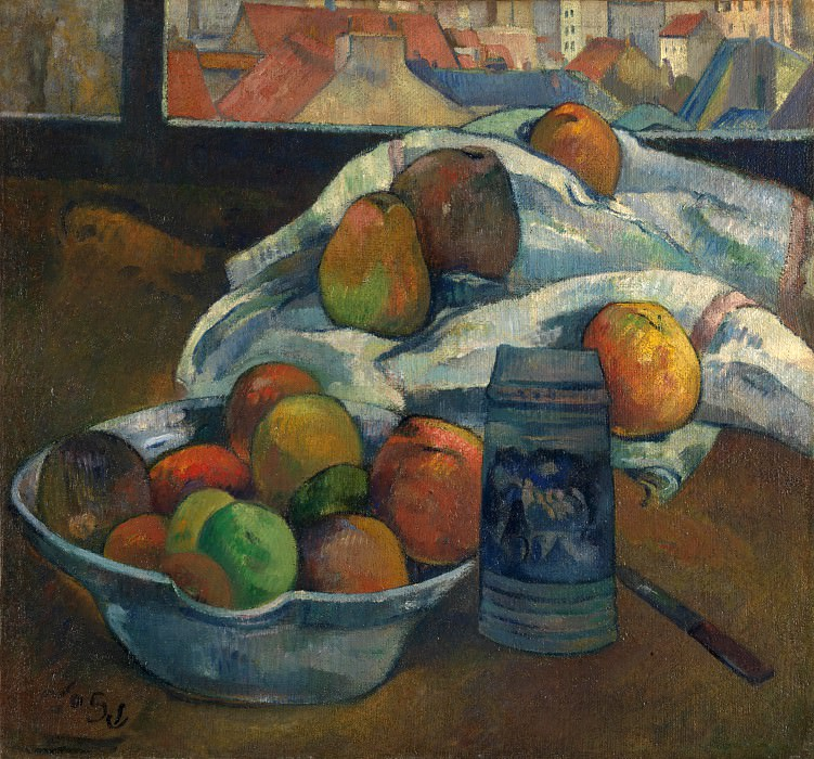 Paul Gauguin - Bowl of Fruit and Tankard before a Window. Part 5 National Gallery UK
