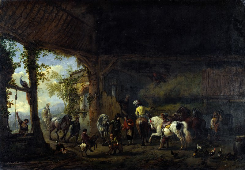 Philips Wouwermans - The Interior of a Stable. Part 5 National Gallery UK