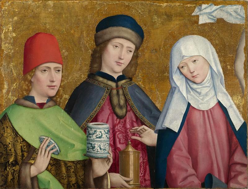 Master of Liesborn - Saints Cosmas and Damian and the Virgin. Part 5 National Gallery UK