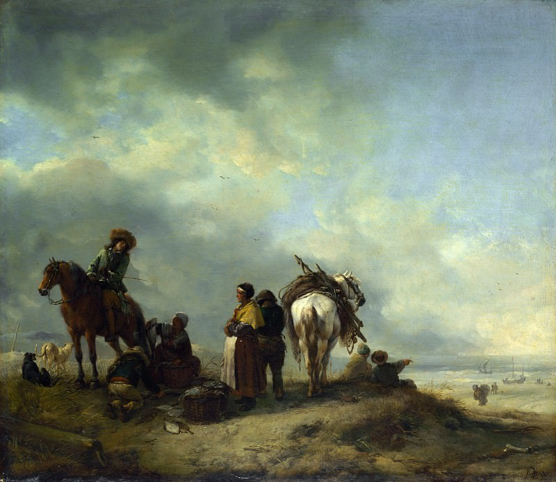 Philips Wouwermans - Seashore with Fishwives offering Fish. Part 5 National Gallery UK