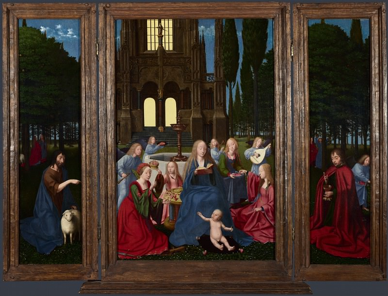 Netherlandish - The Virgin and Child with Saints and Angels in a Garden. Part 5 National Gallery UK