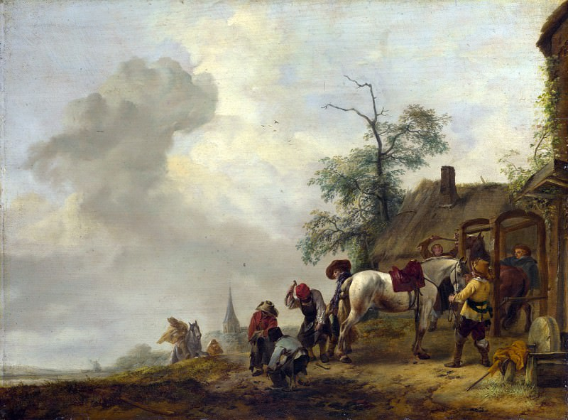 Philips Wouwermans - A Horse being Shod outside a Village Smithy. Part 5 National Gallery UK