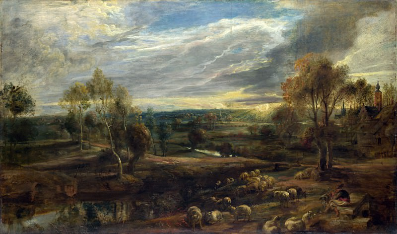A Landscape with a Shepherd and his Flock. Peter Paul Rubens