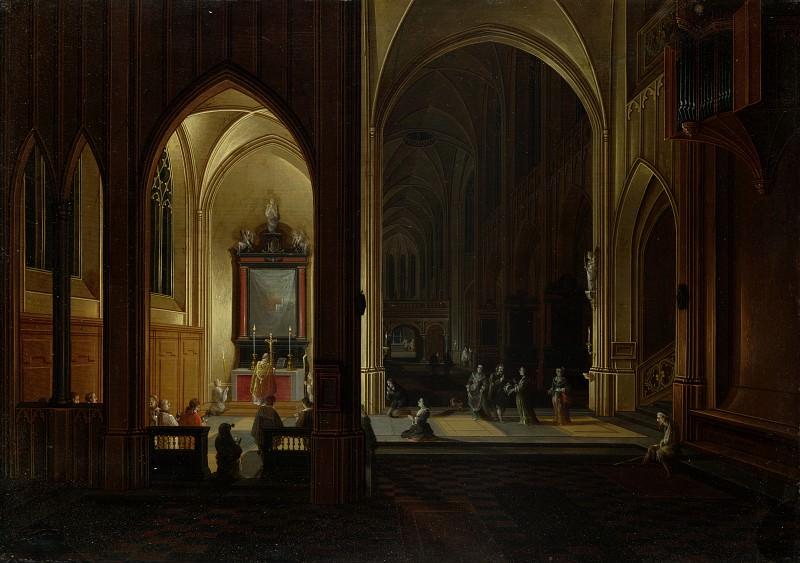 Pieter Neeffs the Elder and Bonaventura Peeters the Elder - An Evening Service in a Church. Part 5 National Gallery UK