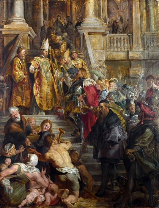 Saint Bavo is received by Saints Amand and Floribert. Peter Paul Rubens