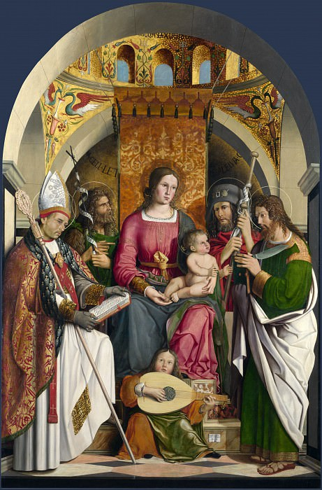Marco Marziale - The Virgin and Child with Saints. Part 5 National Gallery UK