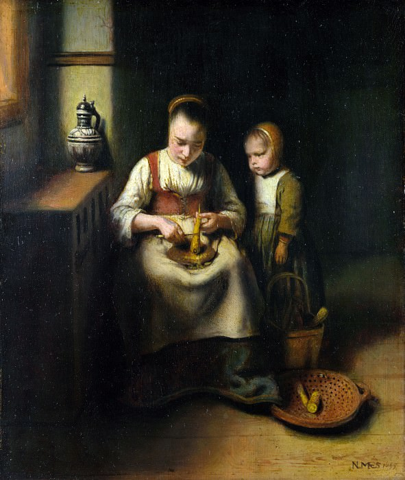 Николас Мас - Кухарка, чистящая пастернак, и девочка. Часть 5 Национальная галерея
