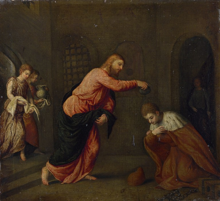 Paris Bordone - Christ baptising Saint John Martyr. Part 5 National Gallery UK
