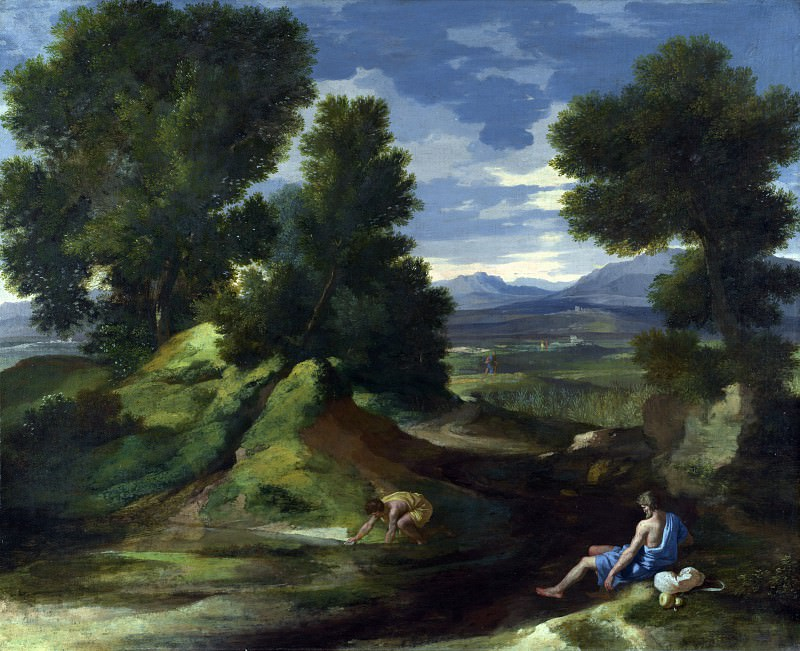 Landscape with a Man scooping Water from a Stream. Nicolas Poussin