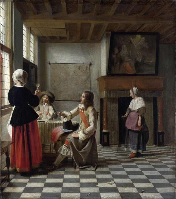 Pieter de Hooch - A Woman Drinking with Two Men. Part 5 National Gallery UK