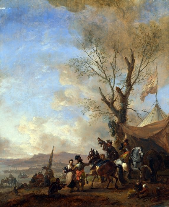 Philips Wouwermans - Cavalrymen halted at a Sutlers Booth. Part 5 National Gallery UK