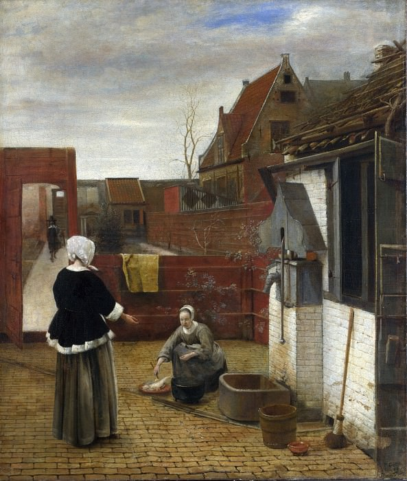 Pieter de Hooch - A Woman and her Maid in a Courtyard. Part 5 National Gallery UK