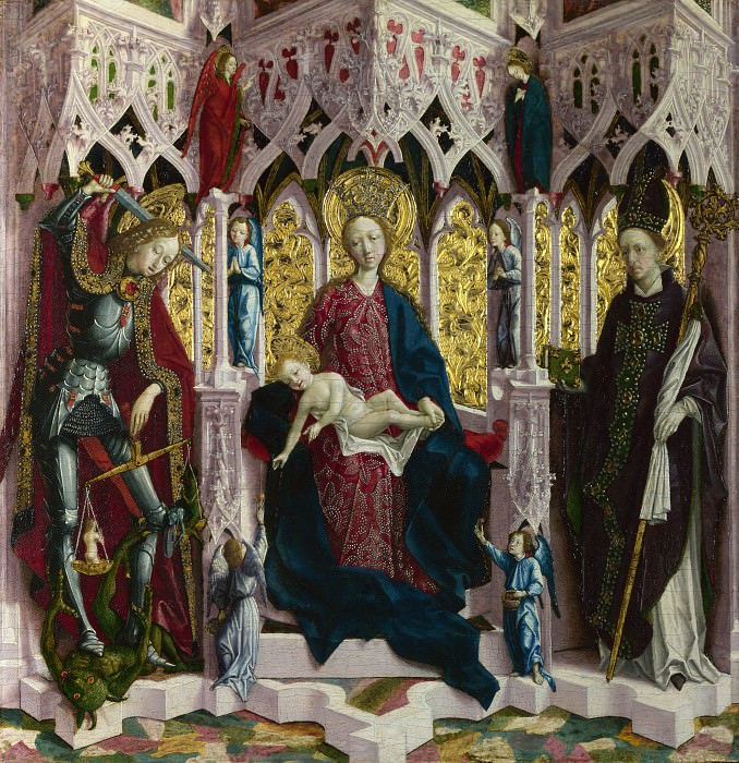 Michael Pacher - The Virgin and Child Enthroned with Angels and Saints. Part 5 National Gallery UK